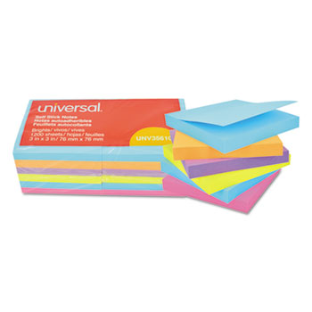 Self-Stick Note Pads, 3 x 3, Assorted Bright Colors, 100-Sheet, 12/PK