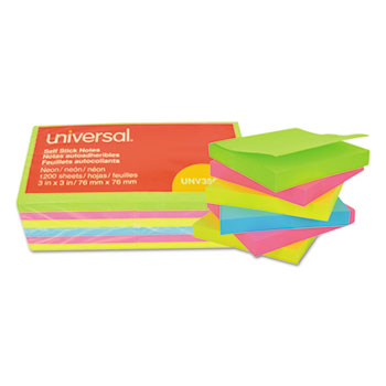 Universal® Self-Stick Note Pads, 3 x 3, Assorted Neon Colors, 100-Sheet, 12/Pack