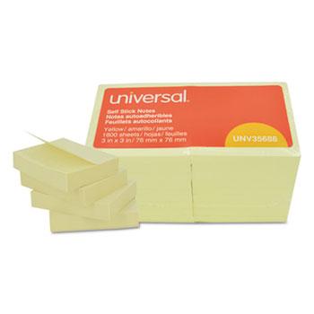 Self-Stick Note Pads, 3 x 3, Yellow, 100-Sheet, 18/Pack