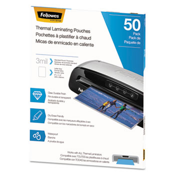 Fellowes® Thermal Laminating Pouches, Letter, 3 mil, 50/Pack
