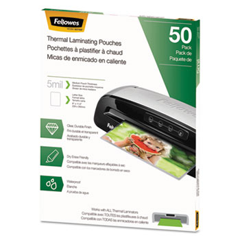 Fellowes® Thermal Laminating Pouches, Letter, 5 mil, 50/Pack