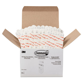 """Command™ Poster Strips, Removable, Holds Up to 1 lb, 5/8"""" x 1 3/4"""", White, 256/Pack"""