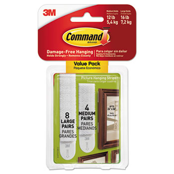 Command™ Picture Hanging Strips, Removable, Holds Up to 16 lb, 0.625 x 2.75, White, 24/PK