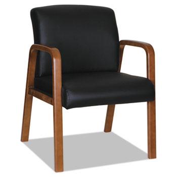 "Alera® Alera Reception Lounge WL Series Guest Chair, 24.21"" x 26.14"" x 32.67"", Black Seat/Back, Walnut Base"