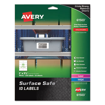 """Avery® Surface Safe™ ID Labels, 2"""" x 3 1/2"""", 25/PK"""