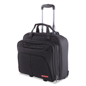 "Purpose Business Case On Wheels, Holds Laptops 15.6"", 8.5"" x 8.5"" x 16"", Black"