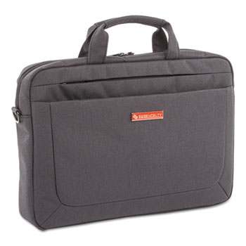 "Swiss Mobility Cadence Slim Briefcase, Holds Laptops 15.6"", 3.5"" x 12"" x 16"", Charcoal"