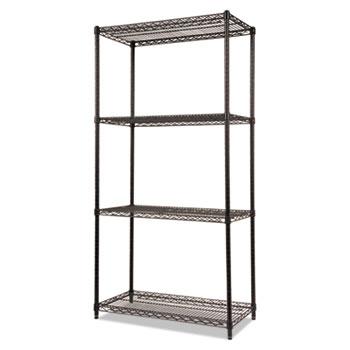 Alera® NSF Certified Industrial 4-Shelf Wire Shelving Kit, 36w x 18d x 72h, Black