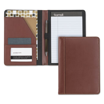 Samsill® Contrast Stitch Leather Padfolio, 6 1/4w x 8 3/4h, Open Style, Brown