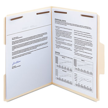 Smead® SuperTab Reinforced Guide Height Fastener Folder, 1/3 Tab, Letter, Manila, 50/BX