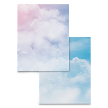 Astrodesigns® Pre-Printed Paper, 28 lb, 8 1/2 x 11, Multicolor, Clouds, 100 Sheets/RM
