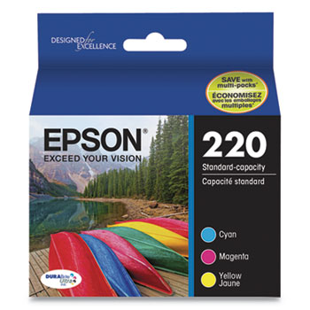 Epson® T220520S (220) DURABrite Ultra Ink, 165 Page-Yield, Cyan/Magenta/Yellow