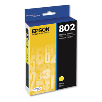 Epson® T802420S (802) DURABrite Ultra Ink, 650 Page-Yield, Yellow
