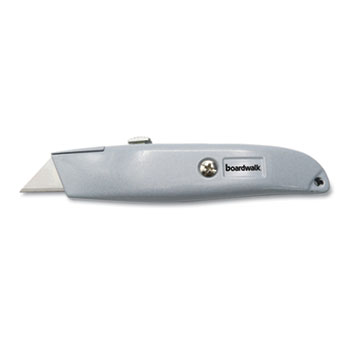 Boardwalk® Retractable Metal Utility Knife, Retractable, Straight-Edged, Gray
