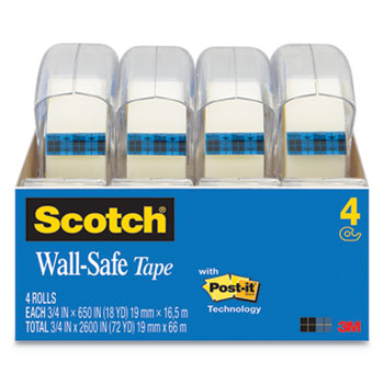 "Wall-Safe Tape, 1"" Core, 3/4"" x 650"", Clear, 4/Pack"