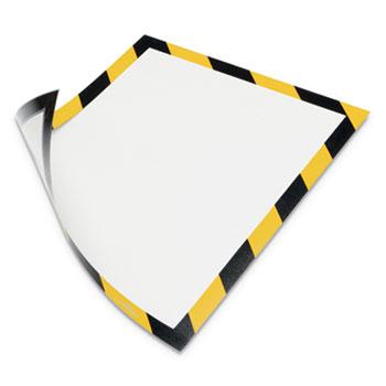 "Durable® Duraframe® SECURITY Magnetic Letter Sign Holder For 8-1/2"" x 11"" Insert, Yellow/Black, 2/PK"