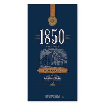 1850 Coffee, Black Gold, Dark Roast Ground, 12 oz. Bag, 6/CT