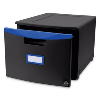 Storex Single-Drawer Mobile Filing Cabinet, 14 3/4w x 18 1/4d x 12 3/4h, Black/Blue