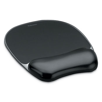 Fellowes® Gel Crystals Wrist Support, Mouse Pad/Wrist Rest, Black