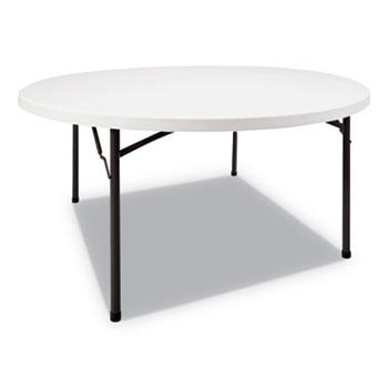 Round Plastic Folding Table, 60 Dia x 29 1/4h, White