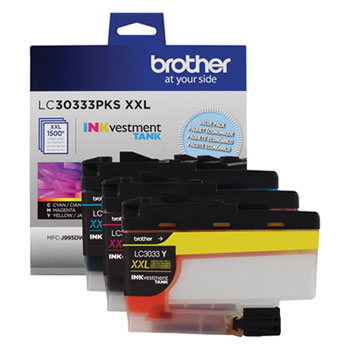 Brother LC30333PKS INKvestment Super High-Yield Ink, Cyan/Magenta/Yellow