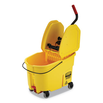 Rubbermaid® Commercial WaveBrake 2.0 Bucket/Wringer Combos, Down-Press, 11 gal, Plastic, Yellow