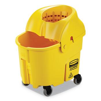 Rubbermaid® Commercial WaveBrake 2.0 Bucket/Wringer Combos, Down-Press, 35 qt, Plastic, Yellow