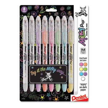 Pentel® Milky Pop Gel Ink Pen, 0.8 mm, Assorted Ink, Transparent Barrel, 8/Pack