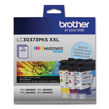 Brother LC30373PKS, Super High-Yield, Ink, 1500 Page-Yield, Cyan, Magenta, Yellow