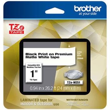 "Brother TZe Premium Laminated Tape, 1"" x 26 1/5 ft, Black on White"