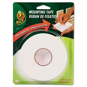 "Duck® Permanent Foam Mounting Tape, 3/4"" x 15ft, White"