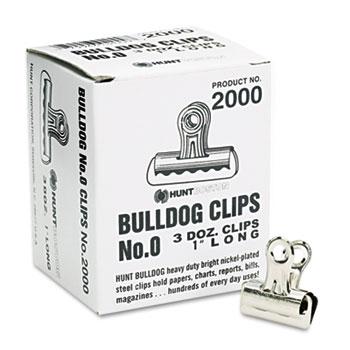 "Bulldog Clips, Steel, 5/16"" Capacity, 1""w, Nickel-Plated, 36/Box"
