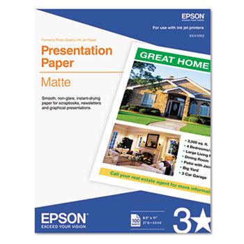 Epson® Matte Presentation Paper, 27 lbs., Matte, 8-1/2 x 11, 100 Sheets/Pack