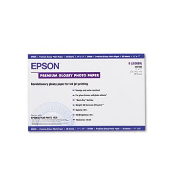 Epson® Premium Photo Paper, 68 lbs., High-Gloss, 11 x 17, 20 Sheets/Pack