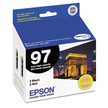 Epson® T097120D2 (97) Extra High-Yield Ink, Black, 2/PK