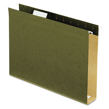 """Reinforced 2"""" Extra Capacity Hanging Folders, 1/5 Tab, Letter, Green, 25/Box"""