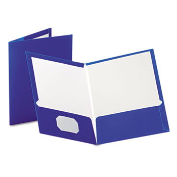 Oxford™ High Gloss Laminated Paperboard Folder, 100-Sheet Capacity, Blue, 25/Box