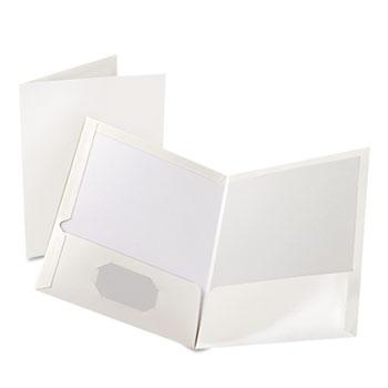 Oxford™ High Gloss Laminated Paperboard Folder, 100-Sheet Capacity, White, 25/Box