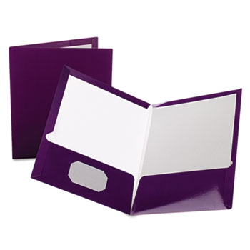 Oxford™ High Gloss Laminated Paperboard Folder, 100-Sheet Capacity, Purple, 25/Box