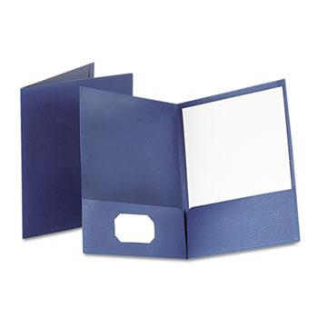 Oxford™ Linen Finish Twin Pocket Folders, Letter, Navy, 25/Box