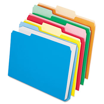 DoubleStuff File Folders, 1/3 Cut, Letter, Assorted, 50/Pack