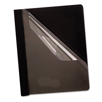 Oxford™ Premium Paper Clear Front Cover, 3 Fasteners, Letter, Black, 25/Box