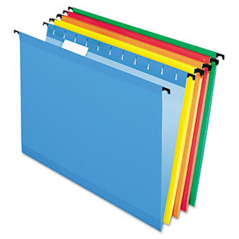 Poly Laminate Hanging Folders, Letter, 1/5 Tab, Assorted, 20/Box