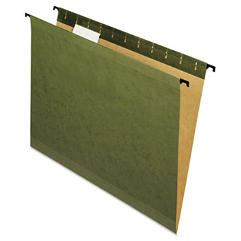 Poly Laminate Reinforced Hanging Folders, 1/5 Tab, Letter, Green, 20/Box