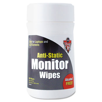 Dust-Off® Premoistened Monitor Cleaning Wipes, Cloth, 6 x 6 1/2, 80/Tub