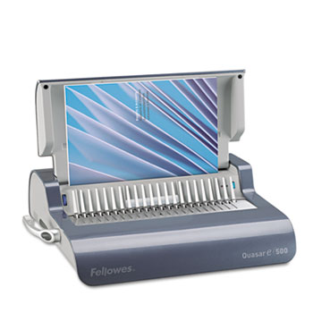Fellowes® Quasar Comb Binding System, 500 Sheets, 16 7/8 x 15 3/8 x 5 1/8, Metallic Gray