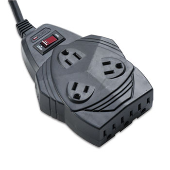Fellowes® Mighty 8 Surge Protector, 8 Outlets, 6 ft Cord, 1460 Joules, Black