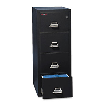 Four-Drawer Vertical File, 17-3/4w x 25d, UL Listed 350° for Fire, Letter, Black