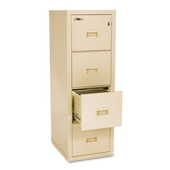 Turtle Four-Drawer File, 17 3/4w x 22 1/8d, UL Listed 350° for Fire, Parchment