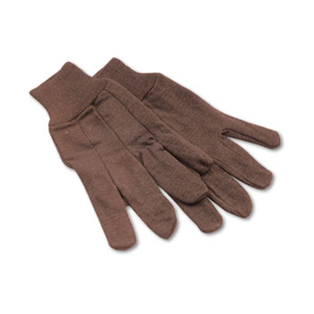 Jersey Knit Wrist Clute Gloves, One Size Fits Most, Brown, 12 Pairs